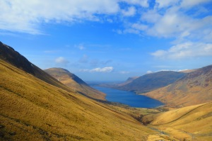 View of Wast Water on the way up Scafell Pike in Eskdale, Lake District