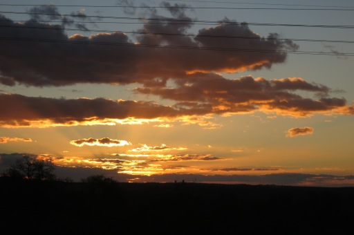Sunset - those electricity cables run right through the reserve though.