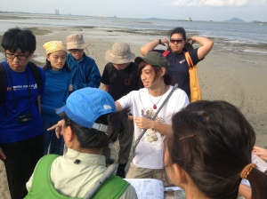 Sean explaining the different species of seagrasses found at Chek Jawa