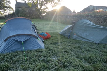 Campsite at Horton-in-Ribblesdale. Woke up one morning to find the ground covered in frost!