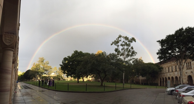 Rainbow at UQ St Lucia, Great Court