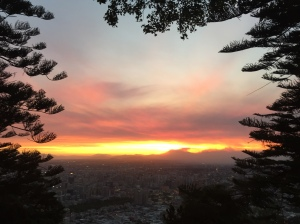 Sunset from Cerro San Cristobal, Santiago, Chile