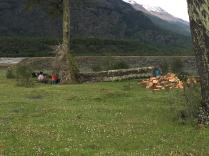 Family producing firewood